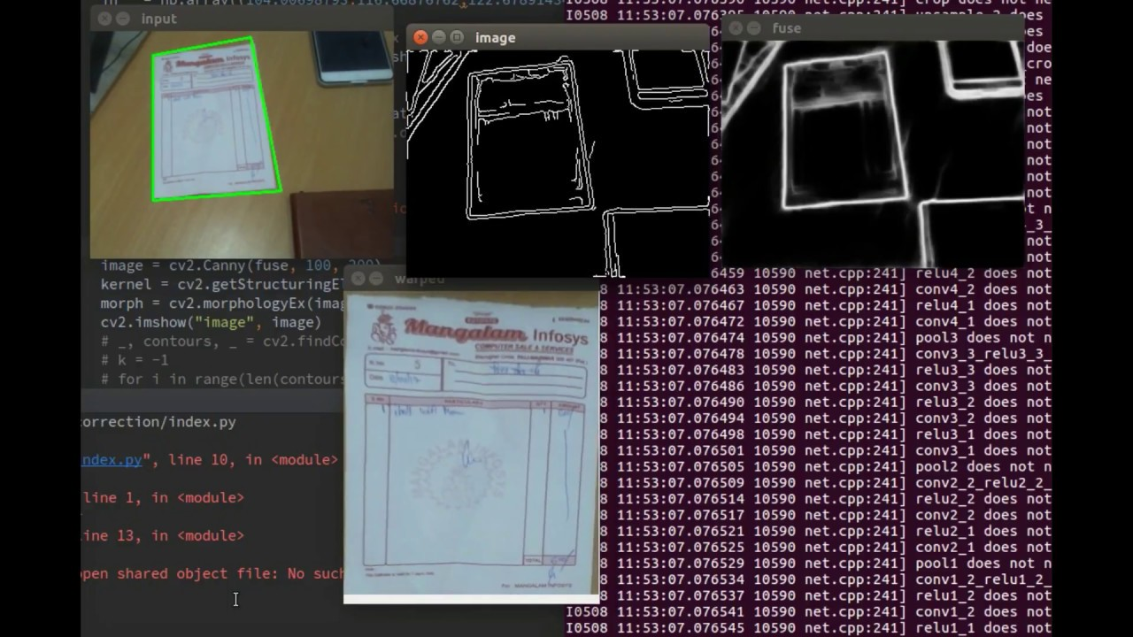 Real Time document detection and perspective correction