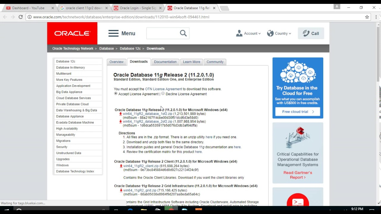 How to download oracle client 11gr2 from oracle? Youtube.
