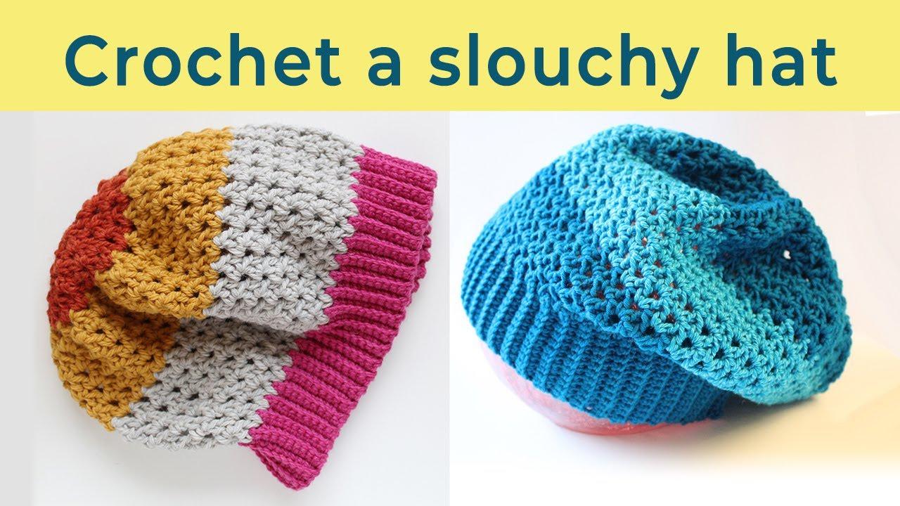 a7537df227f Crochet a slouchy hat in V-stitch. Crochet tutorial - YouTube