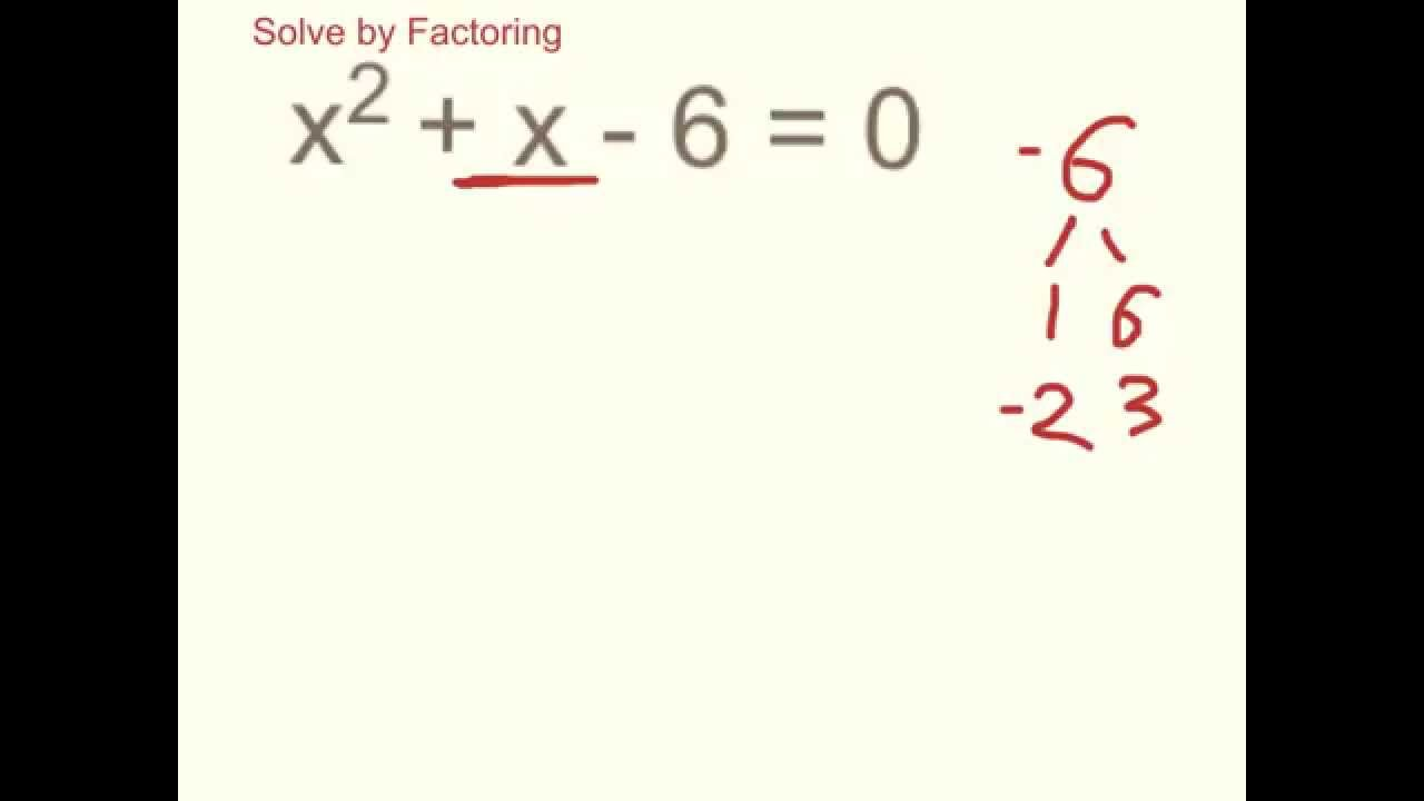 Solve X 2  X - 6   0 By Factoring