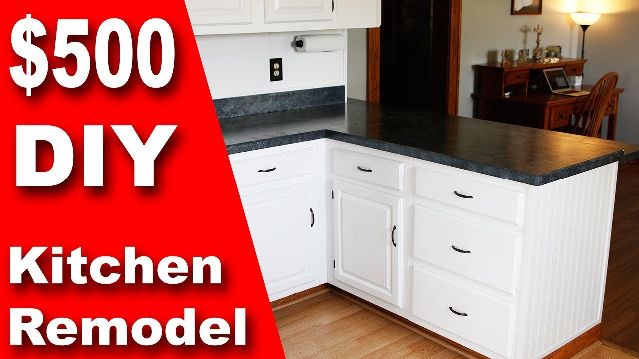 how to: $500 diy kitchen remodel | update counter & cabinets on a