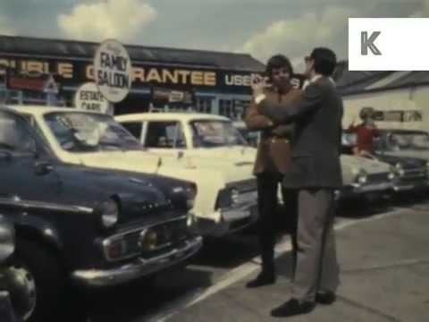 1960s Used Car Salesman, UK Colour Archive Footage
