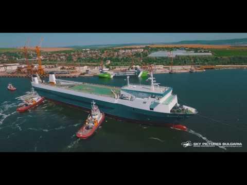 Shipyard shiprepair corporate video using a drone