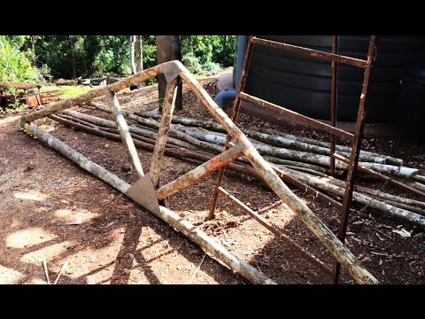 Off Grid Build Natural Round Wood Ceiling Trusses Youtube