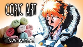 ~ Copic Art ~ Bleach, Ichigo DRAWING (Narrated)