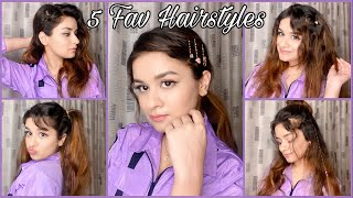 5 EASY HAIRSTYLES PART- 2| IN 1 MIN| NO HEAT| EASY| AVNEET KAUR