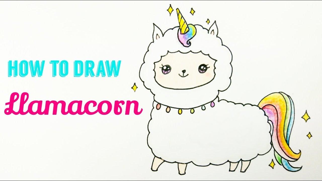How To Draw Llamacorn Llama Unicorn Easy Amp Cute Drawing