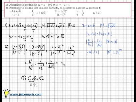Module d 39 un nombre complexe exercice pour apprendre for Calculer le nombre de parpaing