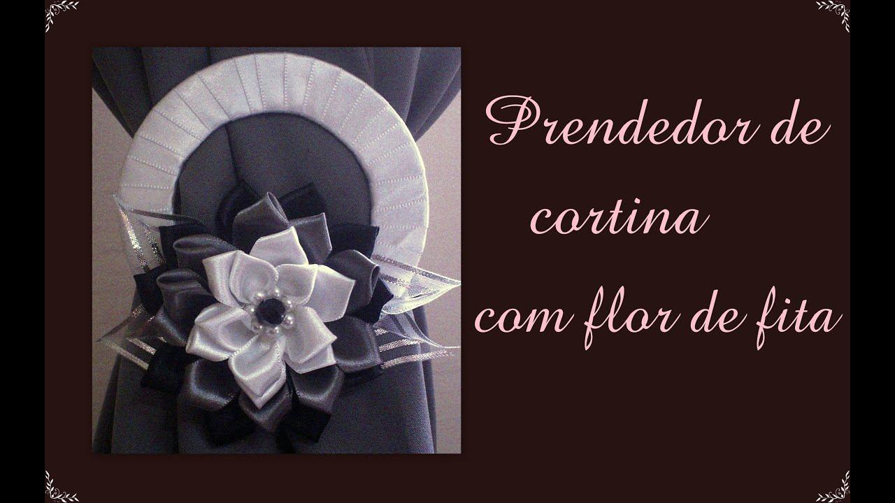 Amado Prendedor de cortina com flor de fita de cetim / Catch curtain  BG82