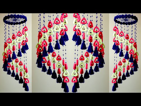 Newspaper Wall Hanging Idea !! DIY Woolen Jhumar || Wall Hanging Making