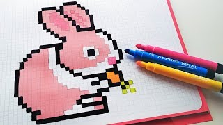 Handmade Pixel Art - How To Draw a Bunny #pixelart