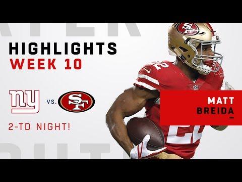 Matt Breida's Big Night w/ 101 Yards Rushing & 2 TDs!