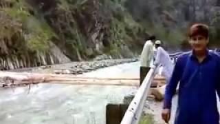 Local people mad woden bridge over river in Neelum Valley Kuttan Azad Kashmir