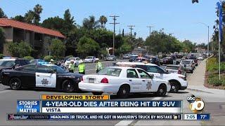 4-year-old boy dies after being hit by SUV in Vista