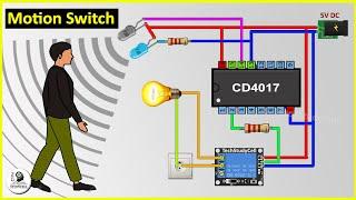 How To Make Motion Sensor Light Switch using CD4017 & IR sensor at Home