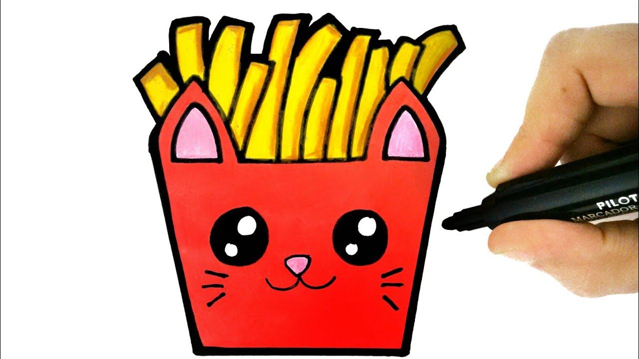 How To Draw A French Fries Como Desenhar Batata Frita Youtube
