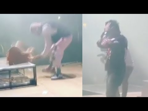 Ivan Moody Destroys Jason Hook's Guitar At Five Finger Death Punch Show