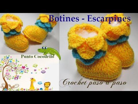 bab368ba39ab5 Como tejer BOTINES ESCARPINES BEBE a CROCHET paso a paso - How to crochet  BABY BOOTIES