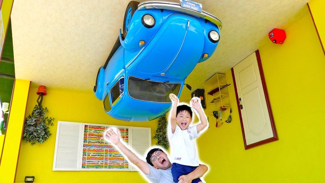 거꾸로 된 신기한 집? 예준이의 플레이 하우스 키즈 테마파크 어린이 놀이터 자동차 장난감 Funny Kids Pretend Play House Upside Down
