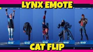 SECRET LYNX 'CAT FLIP' EMOTE WITH DIFFERENT SKINS IN FORTNITE