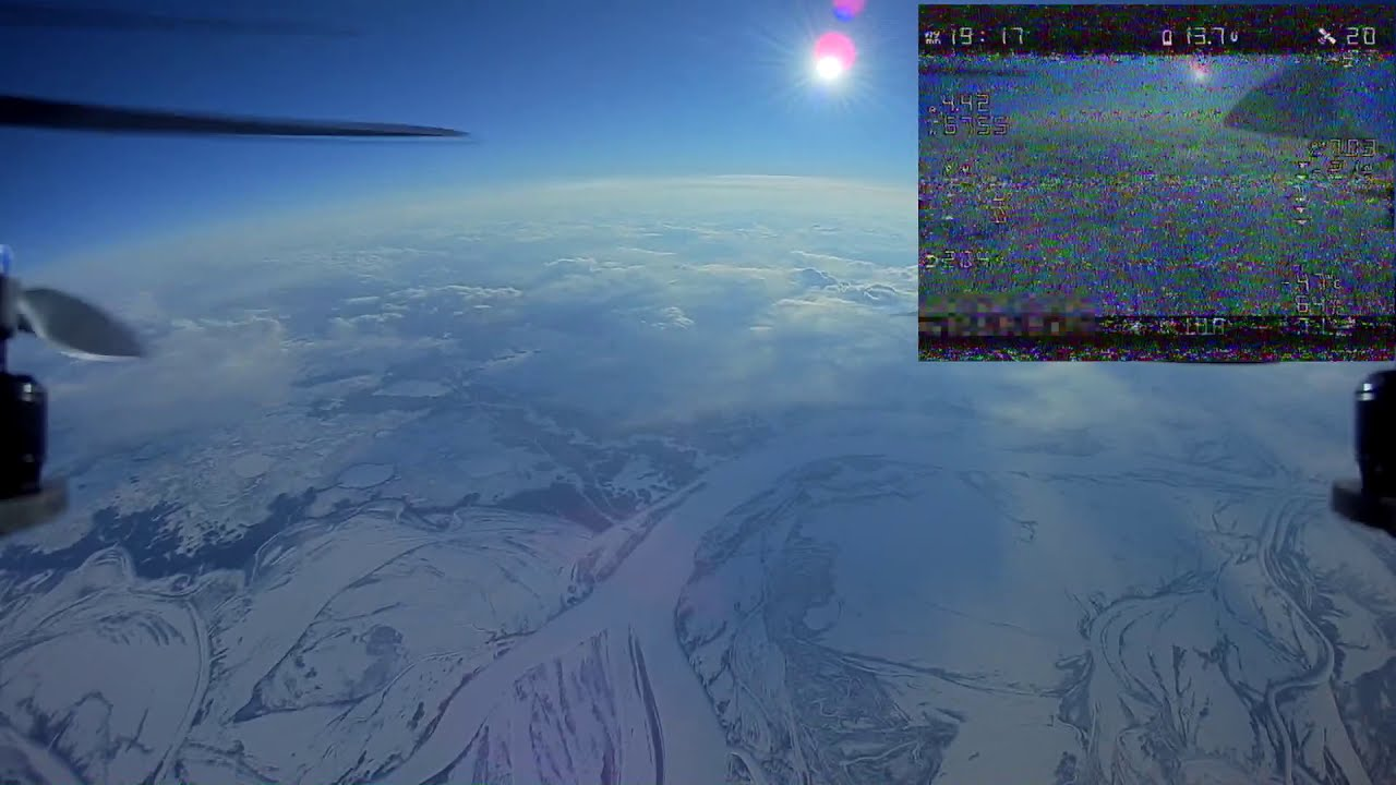 Квадрокоптер поднялся на 10 километров. / High altitude drone flight record FPV фотки