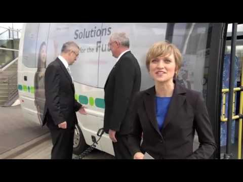 Marianna Evenstein Tests an Electric Bus at the Hannover Trade Fair