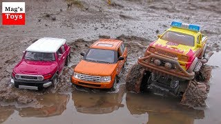 SUV Toy Cars Driving Through Grass, Mud and Water