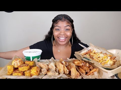WINGSTOP MUKBANG WITH 3 FLAVORED CHICKEN WINGS, VOODOO FRIES AND CORN