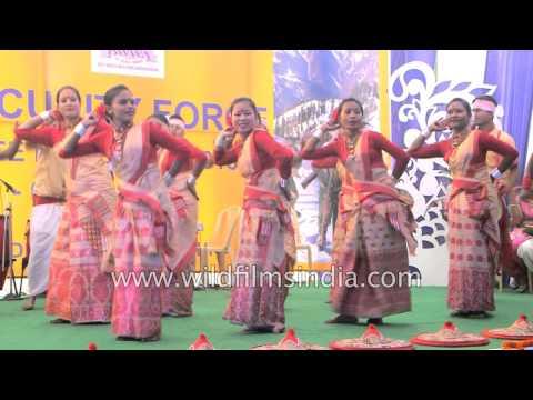 Assamese dancers perform Bihu dance at BSF Mela, Delhi