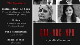 CAA-NRC-NPA Public Discussion | AP SAHA| N RAM| Usha Ramanathan | Rohini Mohan |Tamil news,nba 24x7