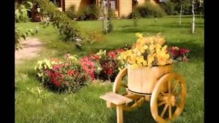 Забавные цветники и клумбы на даче из бочек. Дизайн цветника из деревянной бочки для сада
