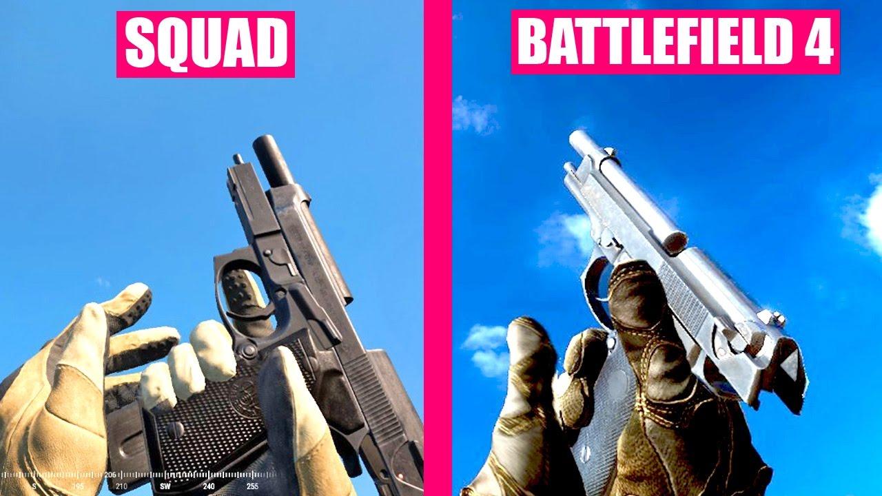 Battlefield 4 Gun Sounds vs SQUAD