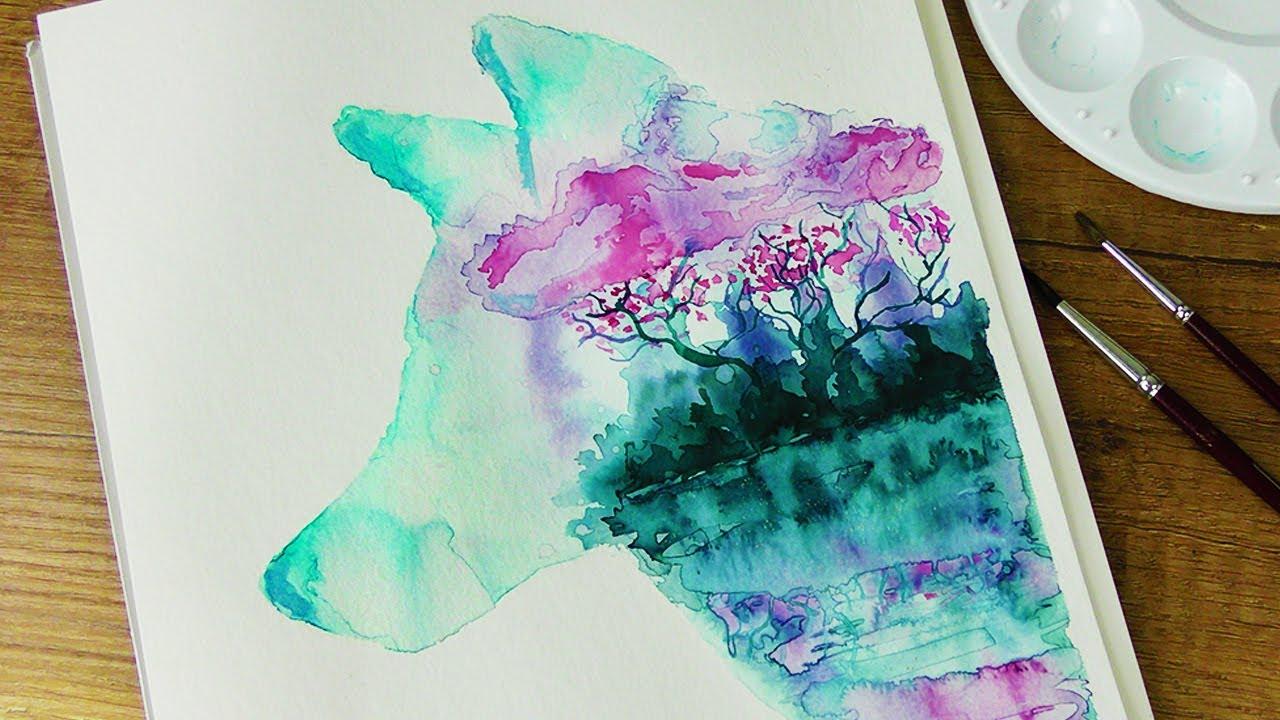 Wolf Malen Mit Aquarelltusche Watercolor Speed Painting Diy