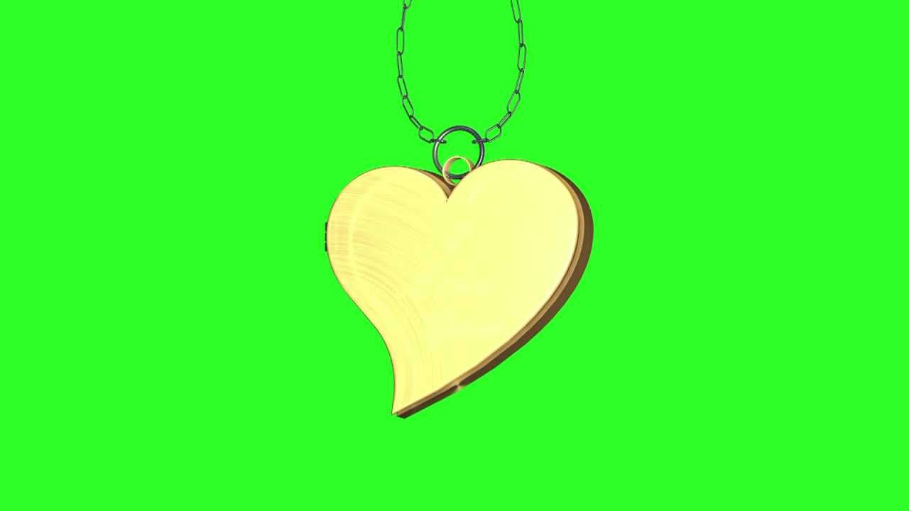 Chroma Key Green 3d Hd 3d Animated Heart Collar Gold Hd Corazon