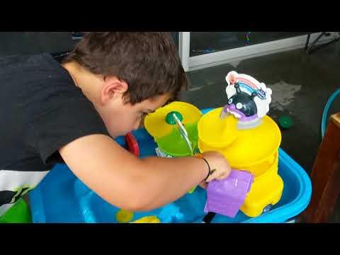 Jonah's kids learning show water table hydroelectricity Aqua Play slide hot wheels slide water power