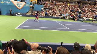 Nathan's backhand hitting contest at US Open Arthur Ashe kids day 2017