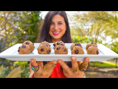 Easy Chocolate Chip Cookie Dough Bites! Raw Vegan Recipe!