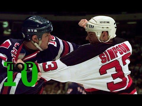 Top Ten NHL Hockey Fights Of Reid Simpson