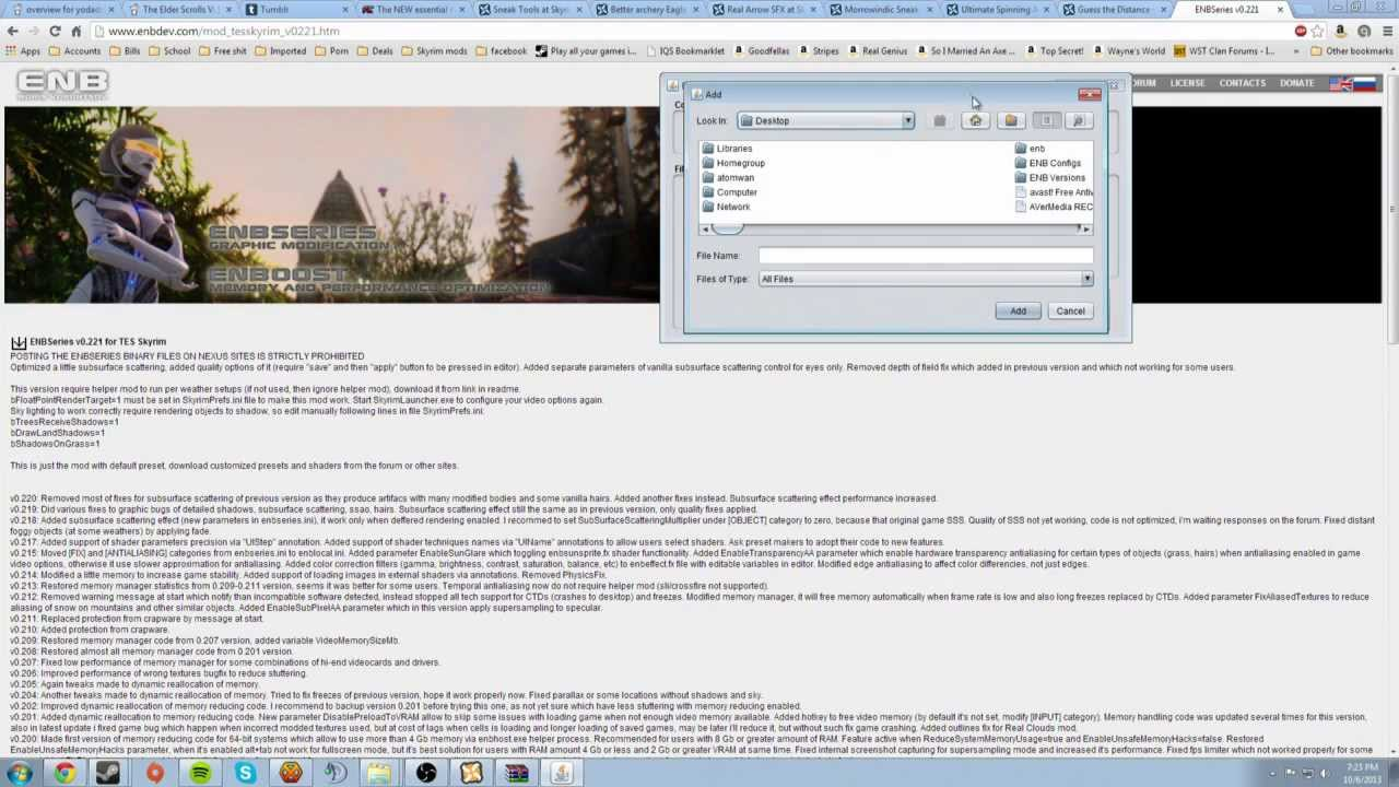 How to use ENB mod manager and changer for Skyrim