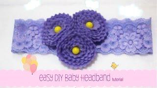 Repeat youtube video Easy DIY Baby Headband Tutorial [Purple Flower] - Erika Felt / Flanel Craft