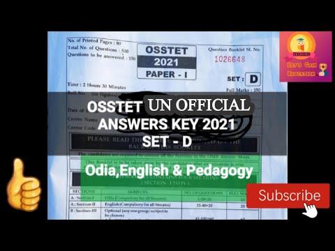 OSSTET ANSWER KEY 2021| UN-OFFICIAL ANSWER KEY| OSSTET 2021 |