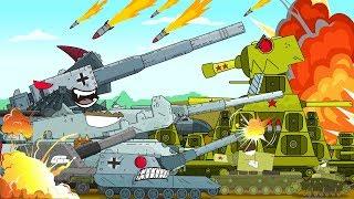 Gambar cover Tank melawan pasukan musuh. Tank kartun untuk anak-anak. Dunia tank kartun Mobil anak