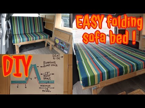 Van conversion BED: Folding sofa bed DESIGN (DIY and EASY)