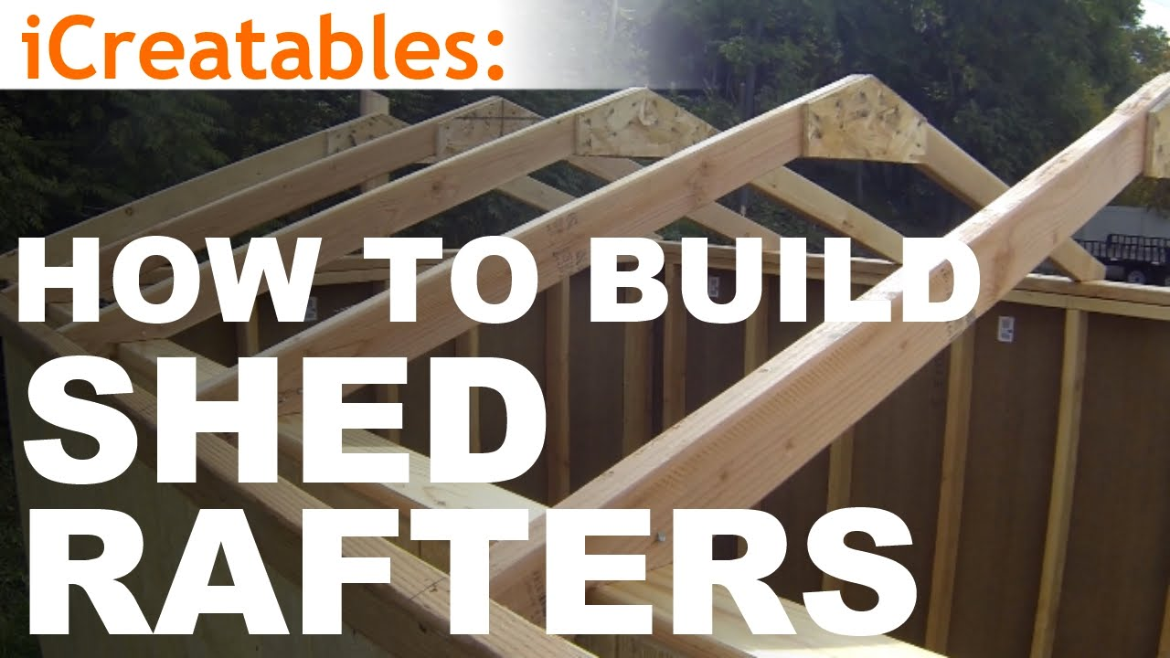 How to build a shed part 4 building roof rafters youtube for Building a shed style roof