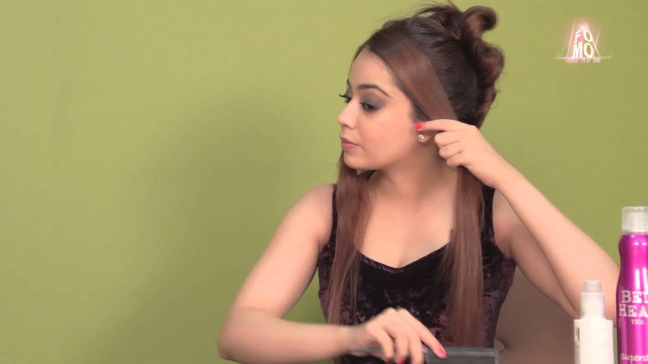 hairstyle with straight hair for an evening out (hindi)