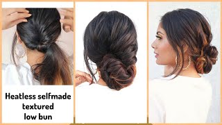How To Self Textured Bun Hairstyle For Medium To Long Hair /New Hairstyle For Wedding /Heatless Hair