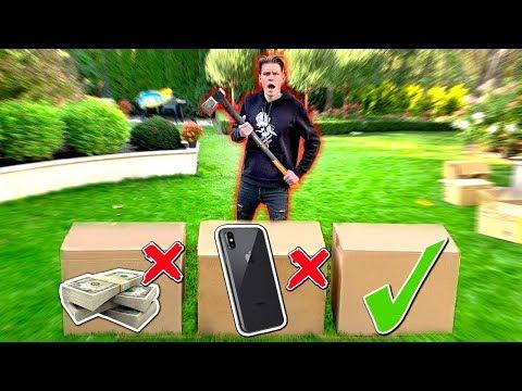 NIE ZNISZCZ ZŁEGO MYSTERY BOXA WIELKĄ SIEKIERĄ! * iPHONE za 5000 ZŁ*