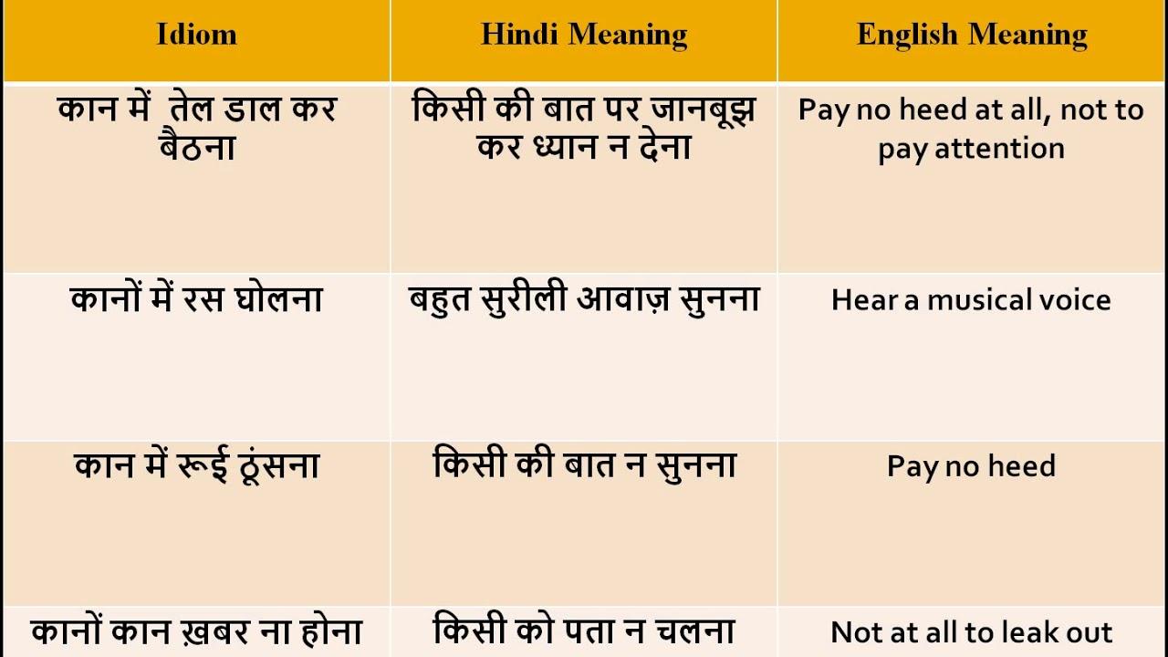 कान से जुड़े हिंदी मुहावरे kaan se jude hindi muhaware hindi idioms based  on ear
