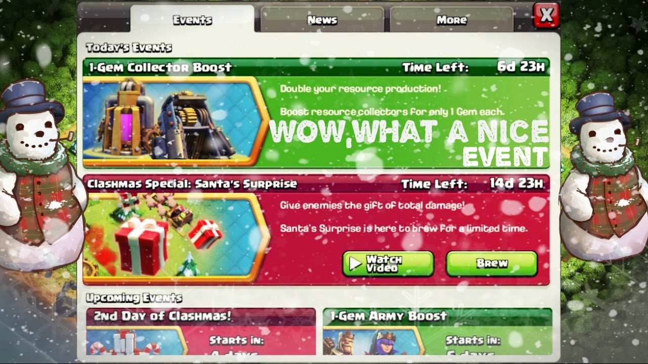 Dark elixir drill boost - Clash Of Clans 1 Gem Collector Boost Santa S Surprise 2016 Todays Event