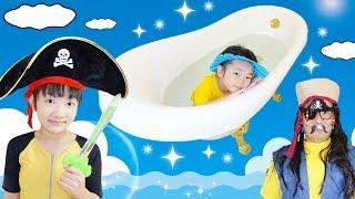 ★おうくんのシャンプーハット!「海賊の船上バスルーム」★First time shampoo hat★ thumbnail